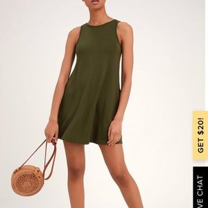 Lulus Basic Olive Green Sleeveless Swing Dress